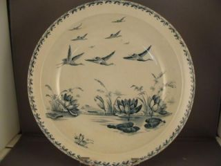 Antique Badonviller Serving Bowl Lily Pond w Birds