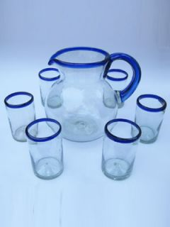 18 Mexican Cobalt Rim Blown Bubble Glasses Drinking Highball Tumblers