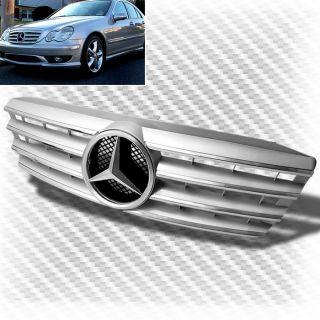 01 07 Mercedes Benz W203 C Class Silver Front Grille Emblem