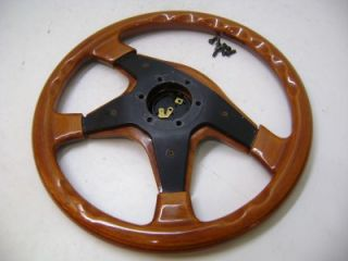 Wood Grain Classic Steering Wheel with Momo Original Horn Button