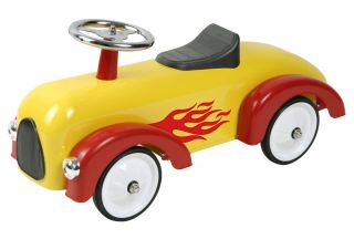 New Kids Toddler Classic Yellow Red Flamed Race Car Ride on Push Along