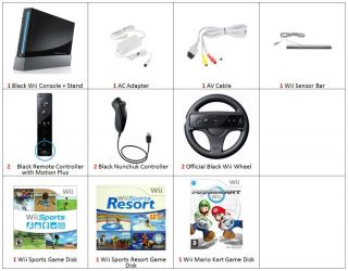 Nintendo Black Wii Console 3 Games 2P Bundle Mario Kart