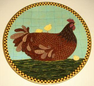 Lenox Warren Kimble Barnyard Animals Brown Hen with Chicks Folk Art