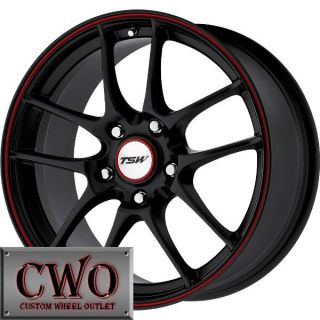 17 Black TSW Trackstar 5 Wheels Rims 5x100 5 Lug Jetta Golf Prius TC