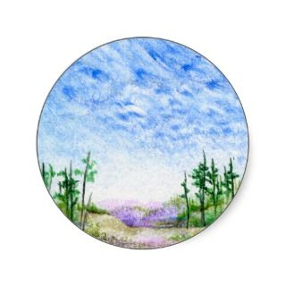 Face In The Clouds Colored Pencil Landscape Round Stickers
