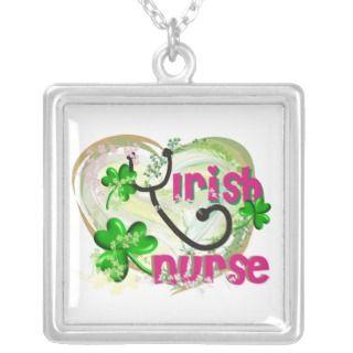 Irish Nurse Shamrock Necklace Sterling Silver