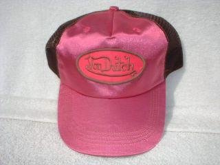 Von Dutch Vintage Trucker Hat Cap Magenta Satin NR