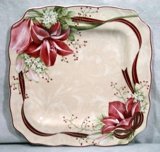 222 Fifth Yuletide Celebration Amaryllis Dinner Plate