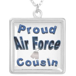 Proud Air Force Cousin Blue Necklace
