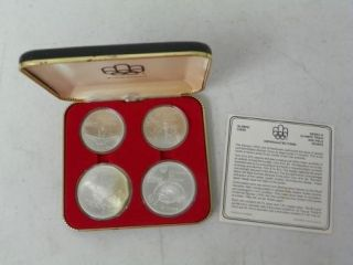1976 Montreal Olympic Sterling Silver 4 Coin Set .925 Canada Canadian