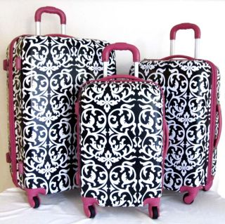 PC Luggage Set Hard Rolling 4 Wheels Spinner Upright Travel Floral