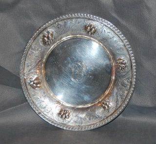 Antique Coin Silver Repousse Plate Fruits Leaves