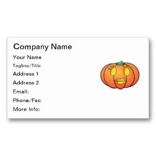 Lantern Glamour Girl Pumpkin Business Card Templates