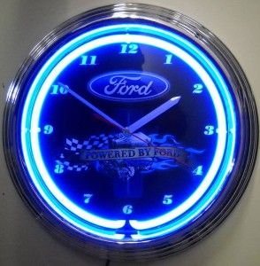 Powered by Ford Logo Lighted Neon Wall Clock