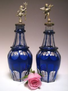 Antique Pair Barber Bottles w Figural Brass Stoppers
