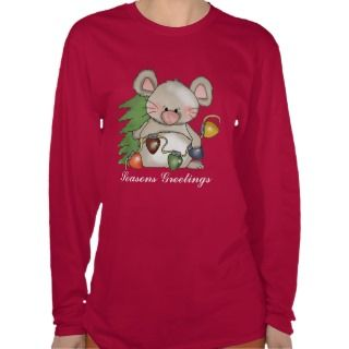 Christmas Mouse long sleeve Hanes Nano t shirt