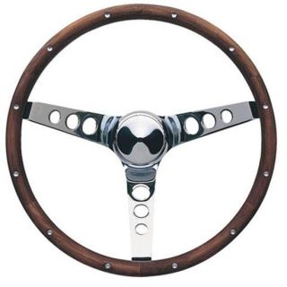 New Grant 13.5 Classic Polished Wood Rimmed 3 Spoke Steering Wheel, 3