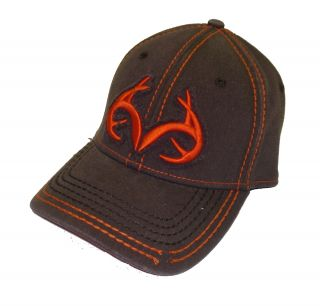 Realtree Outfitters AFLEX Fitted ~ Brown Orange Logod Cap hunting Hat