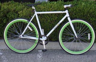 Bike Fixie Bike Road Bicycle 54cm White w Deep 43mm Green Rims