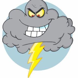 Angry Caroon Black Cloud Wih Lighning Acrylic Cu Ou