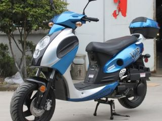 Blue 150cc Gas Scooter Moped 149cc 12 Rims ABS Disc Brake with Trunk