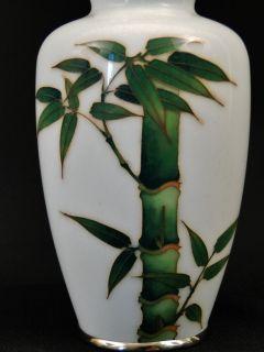 Beautiful Japanese Asian Enamel Wire Cloisonne Bamboo Tree Vase