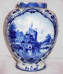 Antique Hand Painted Delft Porceleyne Fles Vase A F