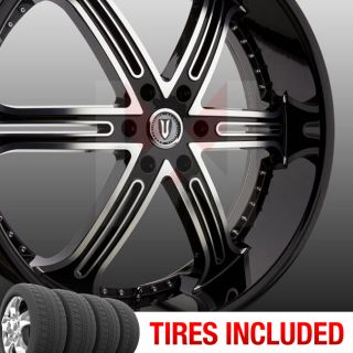 of 4 New 22 Versante 226 5x114 3 38 Wheels Tires Rims Black