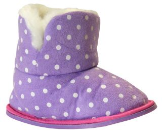 New Toddler Girls Purple Faux Fur Slipper Booties Boot Slippers Size 4