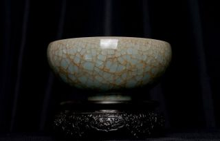 Big Antique Chinese Song Porcelain Sky Blue Ice Crackle Bowl 325PB