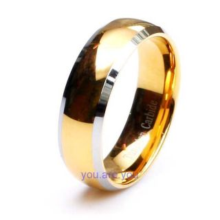 New Mens 18K Gold Plated Polished Tungsten Wedding Band Bridal Ring