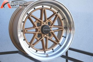15x8 Varrstoen V2 Gold Wheels Fit AE86 Datsun 240 260 280z 240sx s13