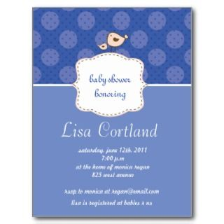 Blue Boy   Cute dots and bird baby shower invites Post Card