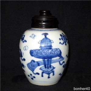 Wonderful Antique Blue White Chinese Kangxi Period Porcelain Teacaddy