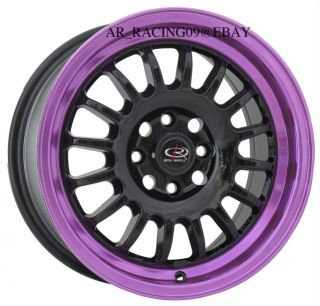 15 ROTA RIMS TRACK R BLACK PURPLE 4x100 +40 CIVIC INTEGRA DEL SOL CRX