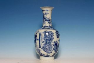 Large Chinese Qing 18c Porcelain Blue and White Figures Painting Vase