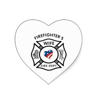 Fireman Wives USA Heart Stickers