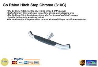 Go Rhino Rear Hitch Step Chrome for 1 1 4 Receiver