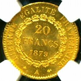 1879 FRENCH ANGEL GOLD COIN 20 FRANCS * NGC CERTIFIED GENUINE & GRADED