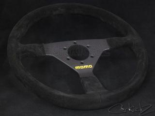 Momo Steering Wheel 350mm Mod 78 Black Suede Black Spoke Mazda Acura