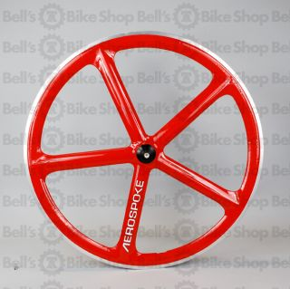Aerospoke Track Front Wheel Red Machined Bolt on 700c