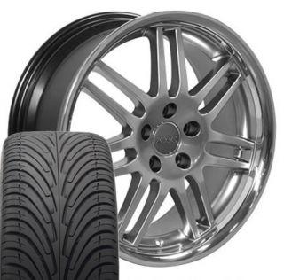18 RS5 Wheels Tires A3 A4 A5 A6 225 40 Hyper Silver Fits Audi