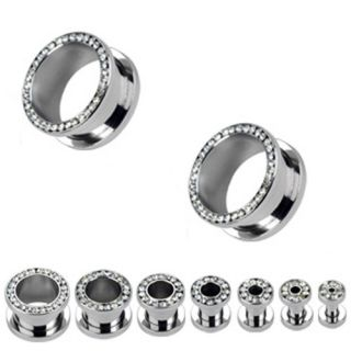 Pair of Clear CZ Gem Gemmed Rims Screw Fit Hollow Ear Plugs Steel