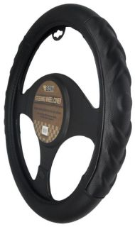 Comfort Grip Soft Black Auto Car Steering Wheel Cover 15 Wheel Size