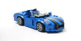 Lego Custom Blue Sports Car w/ Black City Town 10211 8402 10185 10224
