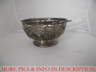 Nickel Silver Bowl w Handle Each Side Cut Out Leaf Pattern