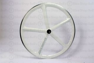 Aerospoke Track Front Wheel White Machined Bolt on 700c