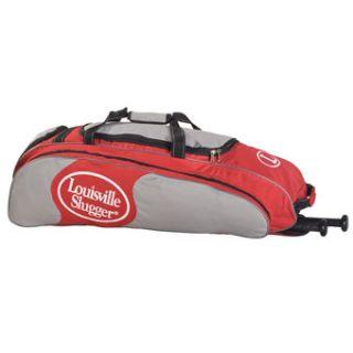 Louisville Slugger Baseball Softball Wheeled Player Bag Scarlet Silver
