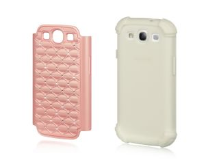 Samsung Galaxy S3 i9300 Dual Layer Studded Rhinestone Hybrid Case Pink