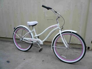 26 3 Speed Beach Cruiser Bicycle Bike Rover Lady White